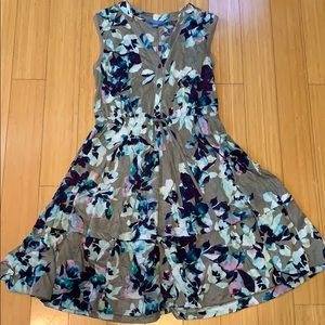 Grey with purple/blue florals sleeveless dress